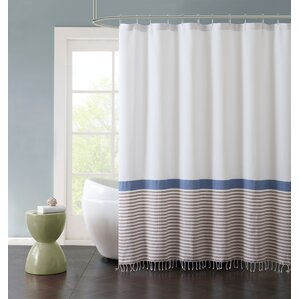 McCartner Hugo Striped Cotton Fringe 72  X 72  Shower CurtainShower Curtains   Joss   Main. Red And Cream Shower Curtain. Home Design Ideas