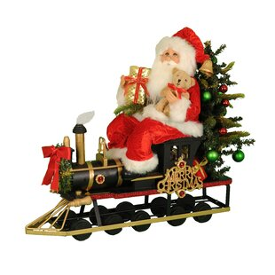 lighted merry christmas train santa figurine - Christmas Train Decoration