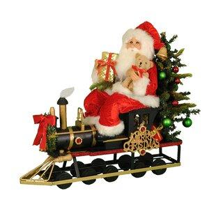 lighted merry christmas train santa figurine - Lighted Train Christmas Decoration