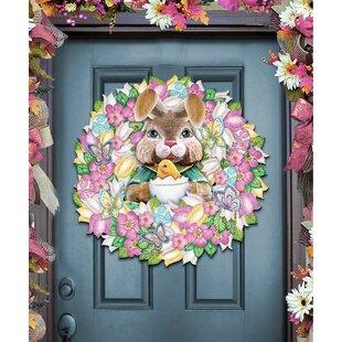 Easter Bunny Wreath Spring Holiday Door Hanger & Wreath Door Hanger | Wayfair