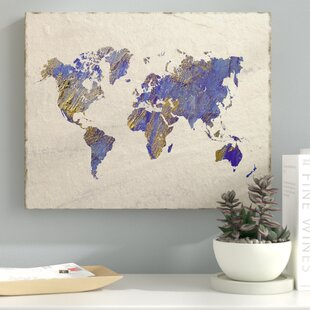 World map wall art painterly world oil painting print on wrapped canvas gumiabroncs Choice Image