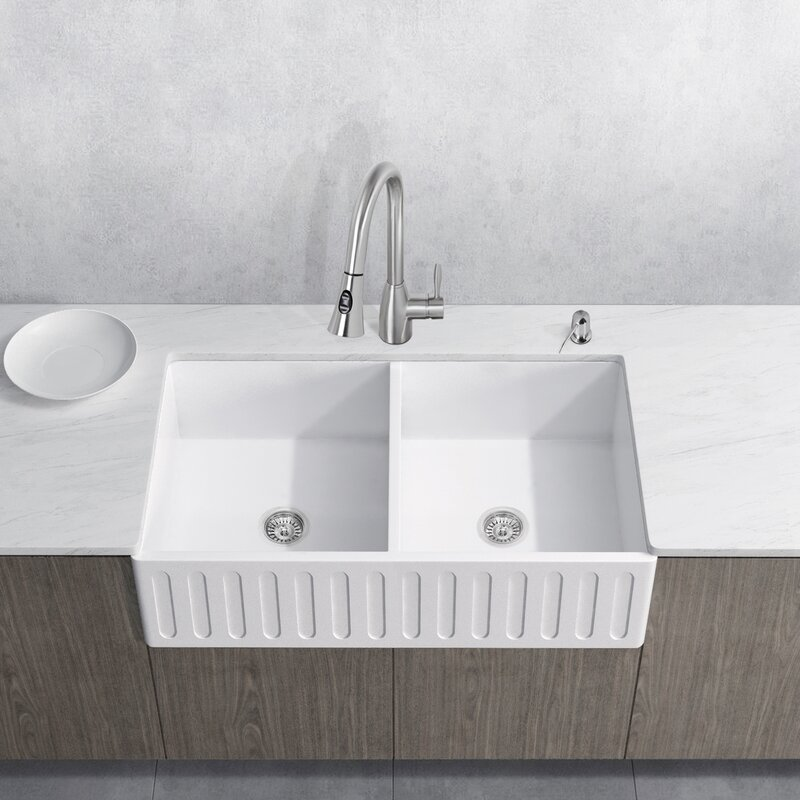 Attractive Aylesbury 36u201d X 18u201d Double Bowl Farmhouse Kitchen Sink With Faucet