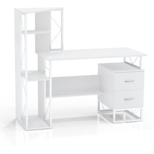 Soho Computer Desk with Attached Storage/Shelving & 2 Right Drawers