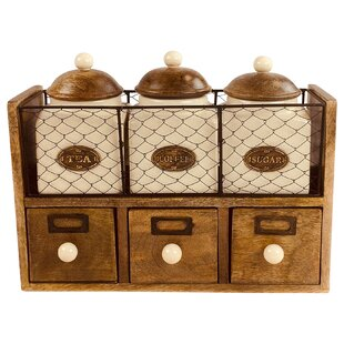 3 Piece Coffee Tea Sugar Jar Set