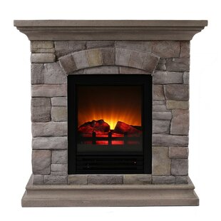 Ozzie Portable Faux Stone Electric Fireplace
