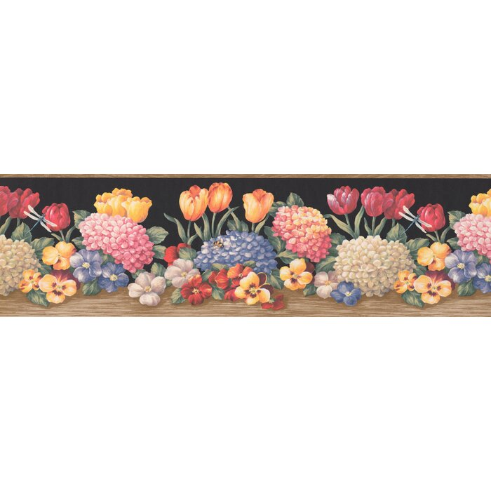 . Boughner Flowers Vintage Retro Design 15  L x 7  W Floral and Botanical  Wallpaper Border