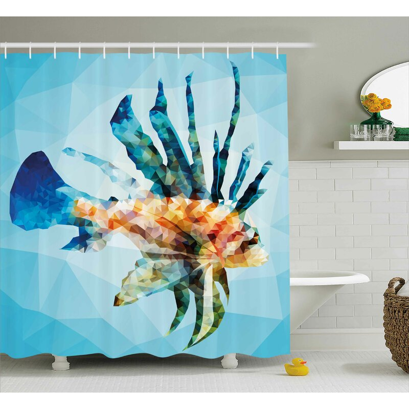 Highland Dunes Ladonna Underwater Theme Ornamental Fish Shower ...