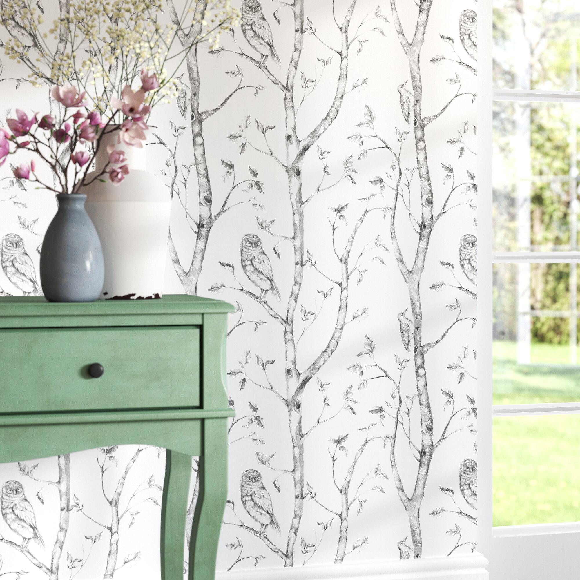 August Grove Kraker 18 X 205 Gray Woods Wallpaper Roll