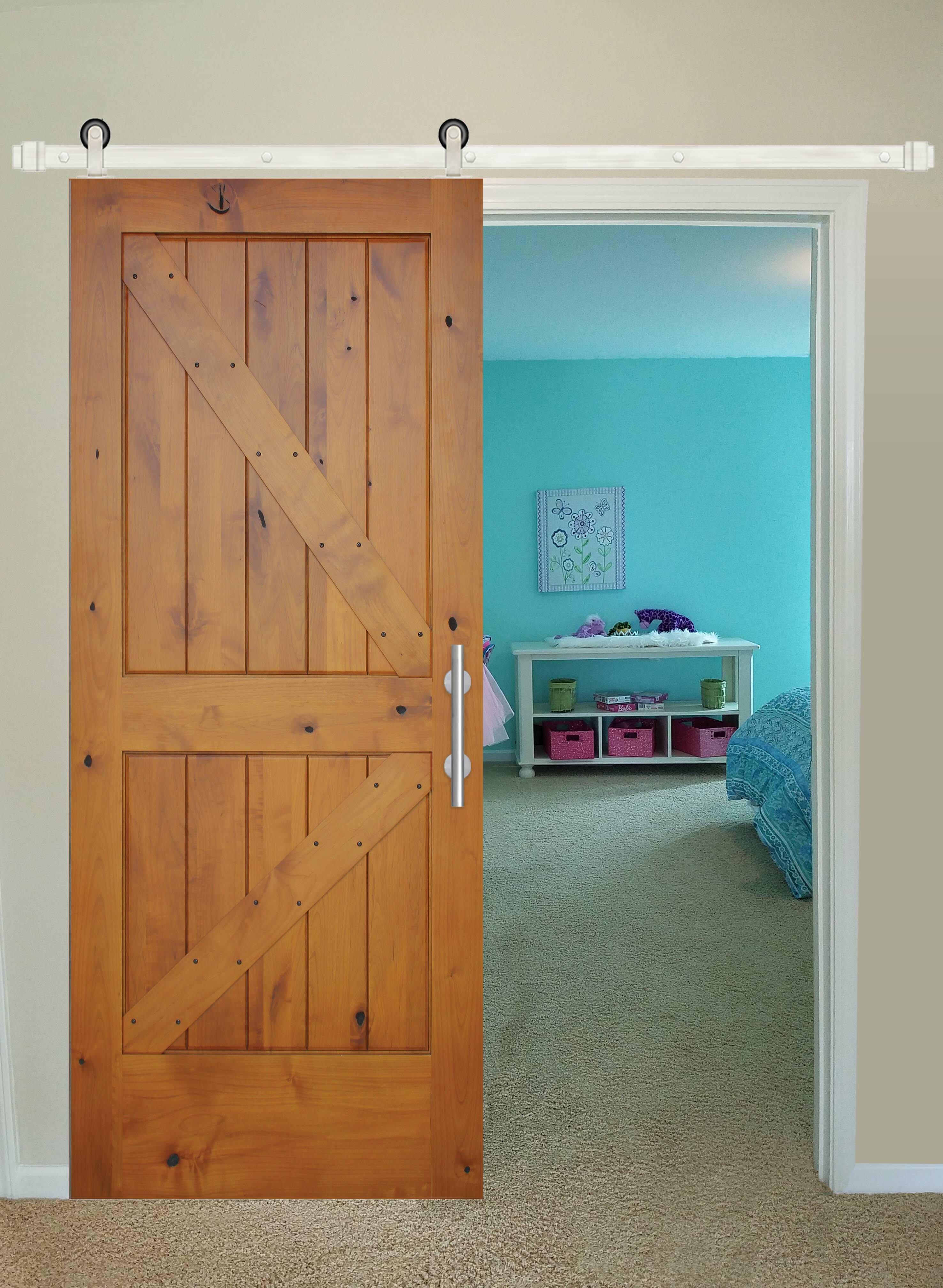 Creativeentryways Paneled Wood Finish Rustic Knotty Alder Barn Door With Installation Hardware Kit Wayfair