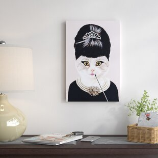 e458406c0cbd4  Audrey Hepburn Cat  Painting Print on Canvas