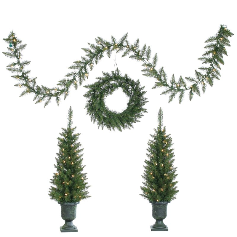 4 piece green pine artificial christmas tree set with 150 clear lights with potted stand - Potted Artificial Christmas Trees