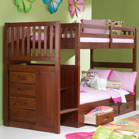 Viv + Rae Kaitlyn Twin over Twin Bunk Bed with Stairs & Reviews | Wayfair
