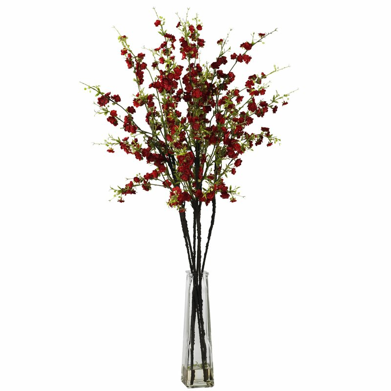Cherry Blossoms With Vase Silk Flower Arrangement In Red