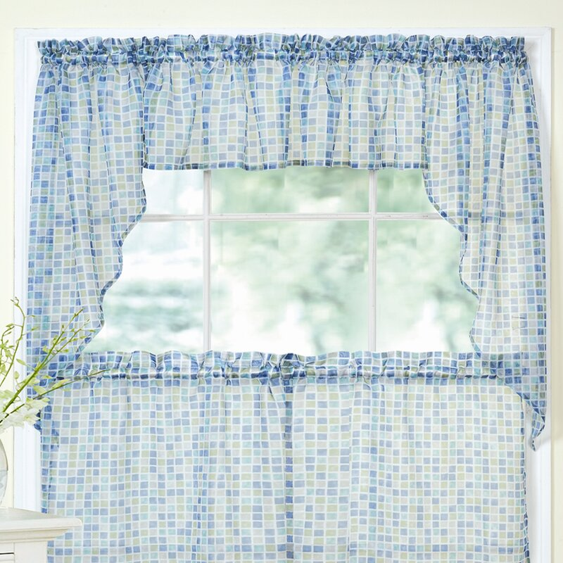 Sweet Home Collection Tiles Block Print Sheer Voile Kitchen Curtain Valance & Reviews