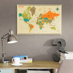 World map canvas art youll love wayfair save to idea board canvas black frame gumiabroncs Images