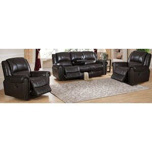Charlotte 3 Piece Leather Living Room Set by Amax