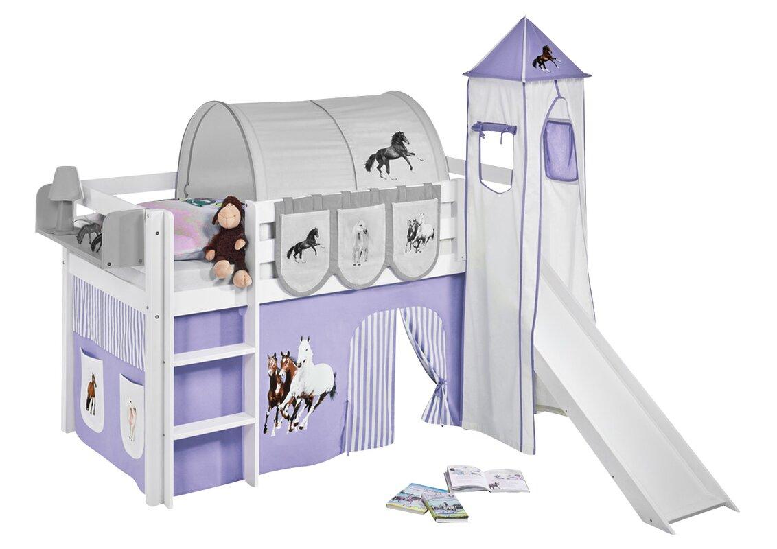 lilokids hochbett pferde mit turm rutsche und vorhang 90. Black Bedroom Furniture Sets. Home Design Ideas