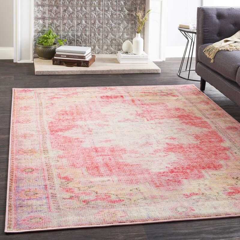 Bungalow Rose Almon Distressed Bright Pink/Pale Pink Area Rug ...