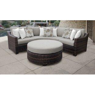 Kathy Ireland Homes Gardens River Brook 4 Piece Outdoor Wicker Patio Furniture Set 04b