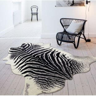 Alegre Faux Zebra Shape Black White Indoor Area Rug