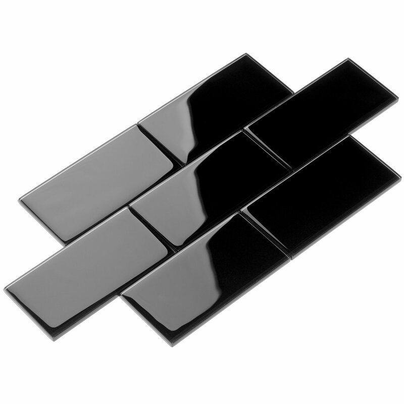 Giorbello 3 X 6 Glass Subway Tile In Black Reviews Wayfair