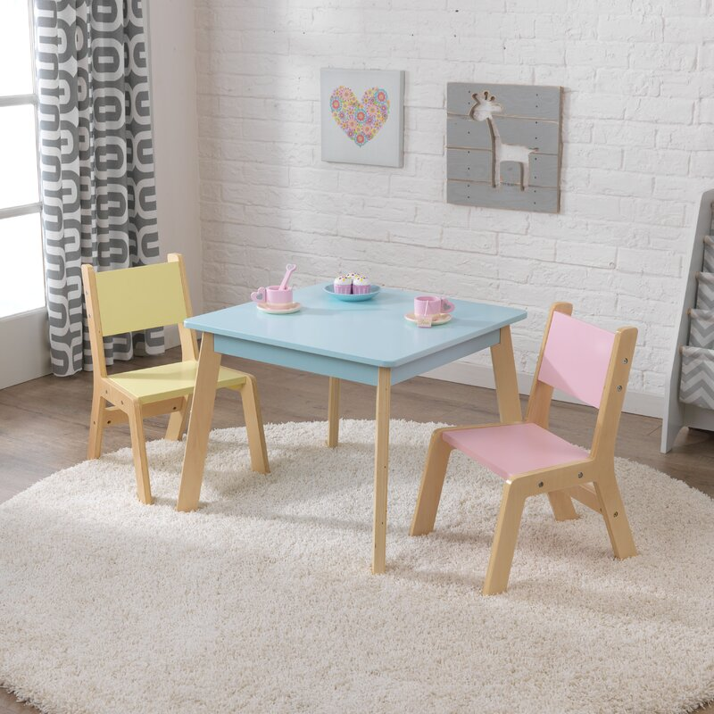 Modern Kid S 3 Piece Square Table And Chair Set Amp Reviews
