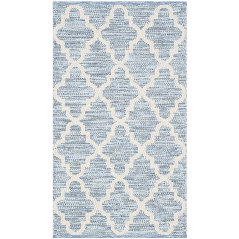 Alcott Hill Valley Hand-Woven Cotton Blue/ Ivory Area Rug, Size: Rectangle 6 x 9