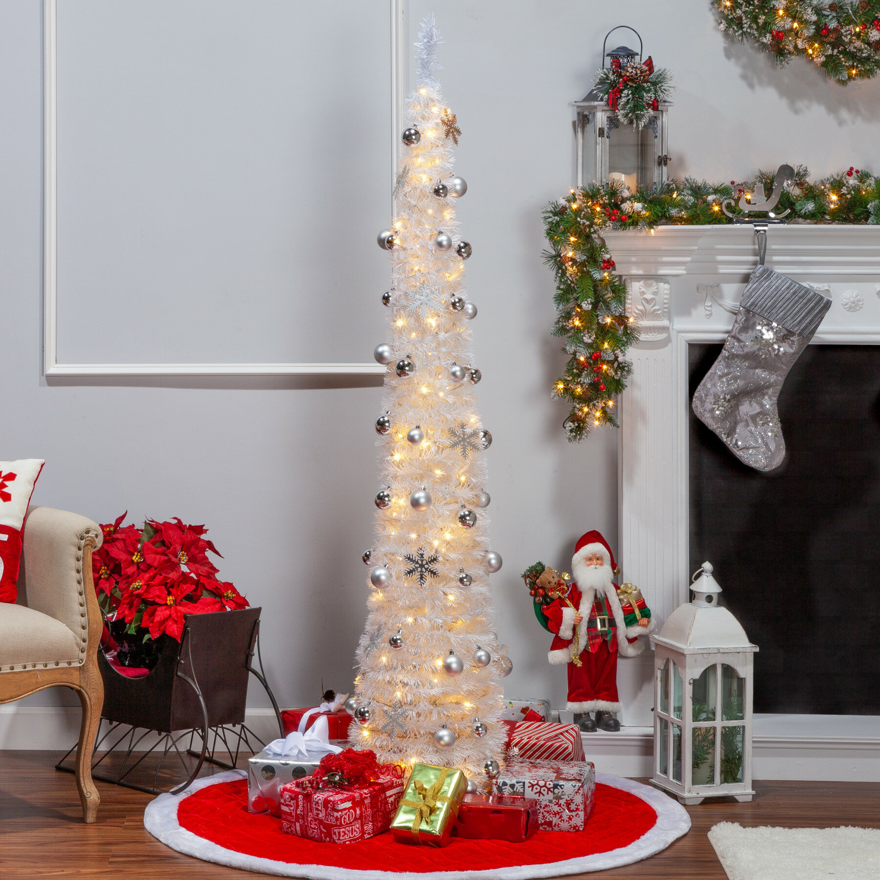 Pop Up Christmas Tree.Pop Up Decorated 4 White Artificial Christmas Tree With 100 Clear White Lights