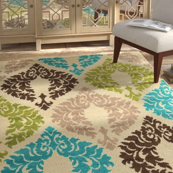 Bungalow Rose Klong Damask Turquoise/Cream Area Rug