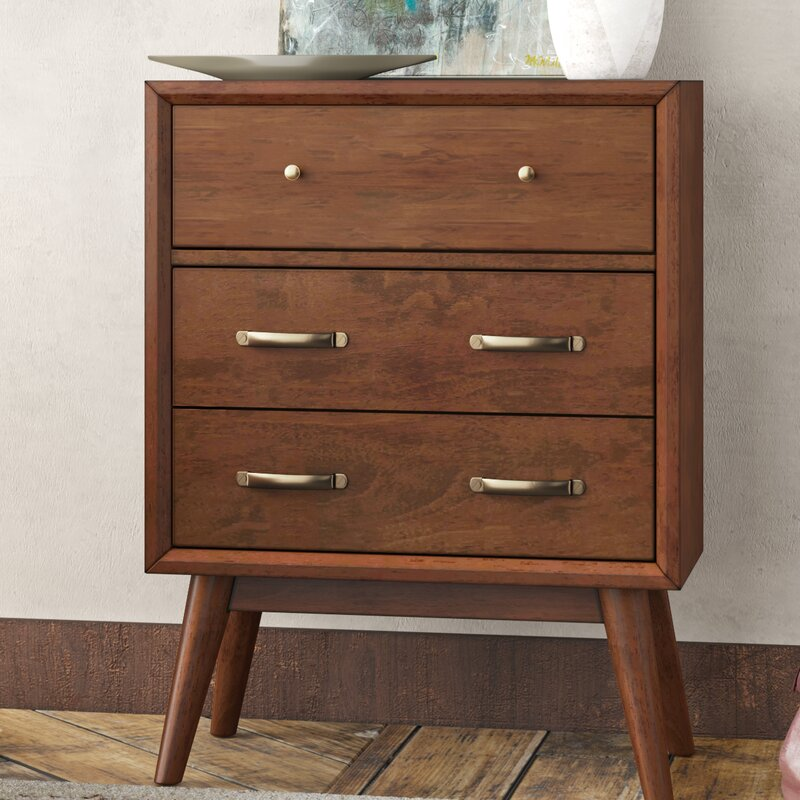 George Oliver Ripton Mid Century Modern Coffee Table: George Oliver Ripton Mid-Century Modern 3 Drawer Accent