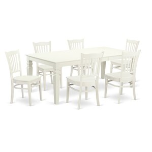 Beesley 7 Piece Rectangular Linen White Dining Set by Darby Home Co