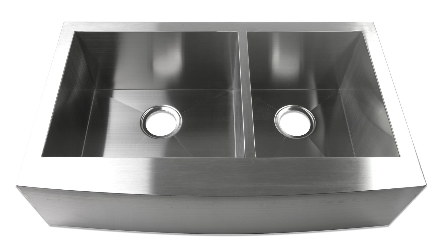 33   x 20   farmhouse apron 60 40 offset double bowl stainless steel handmade luxier 33   x 20   farmhouse apron 60 40 offset double bowl      rh   wayfair com