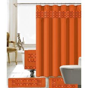 brown and orange shower curtain. Austyn 18 Piece Embroidery Shower Curtain Set Orange Curtains You ll Love  Wayfair