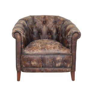 Merveilleux Deveraux Distressed Leather Barrel Chair