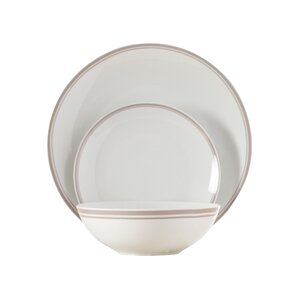 wayfair basics 12 piece striped porcelain dinnerware set service for 4 - Dishware Sets