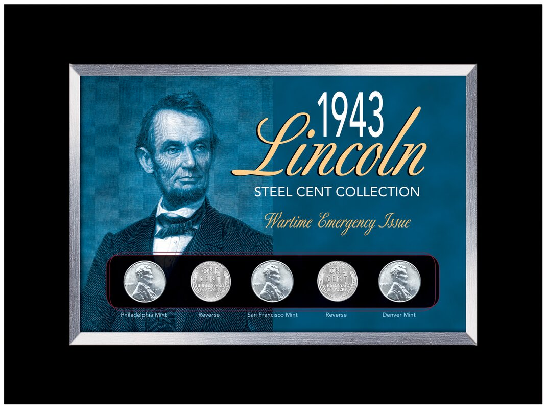 1943 Lincoln Steel Penny Collection Wartime Emergency Issue in Small Framed Memorabilia