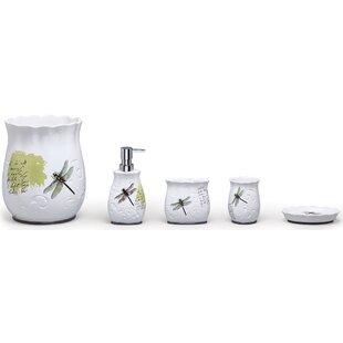 Dragonfly Ceramic 4 Piece Bathroom Accessory Set