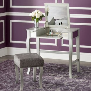 Makeup tables and vanities youll love wayfair strattenborough vanity set with mirror aloadofball Image collections