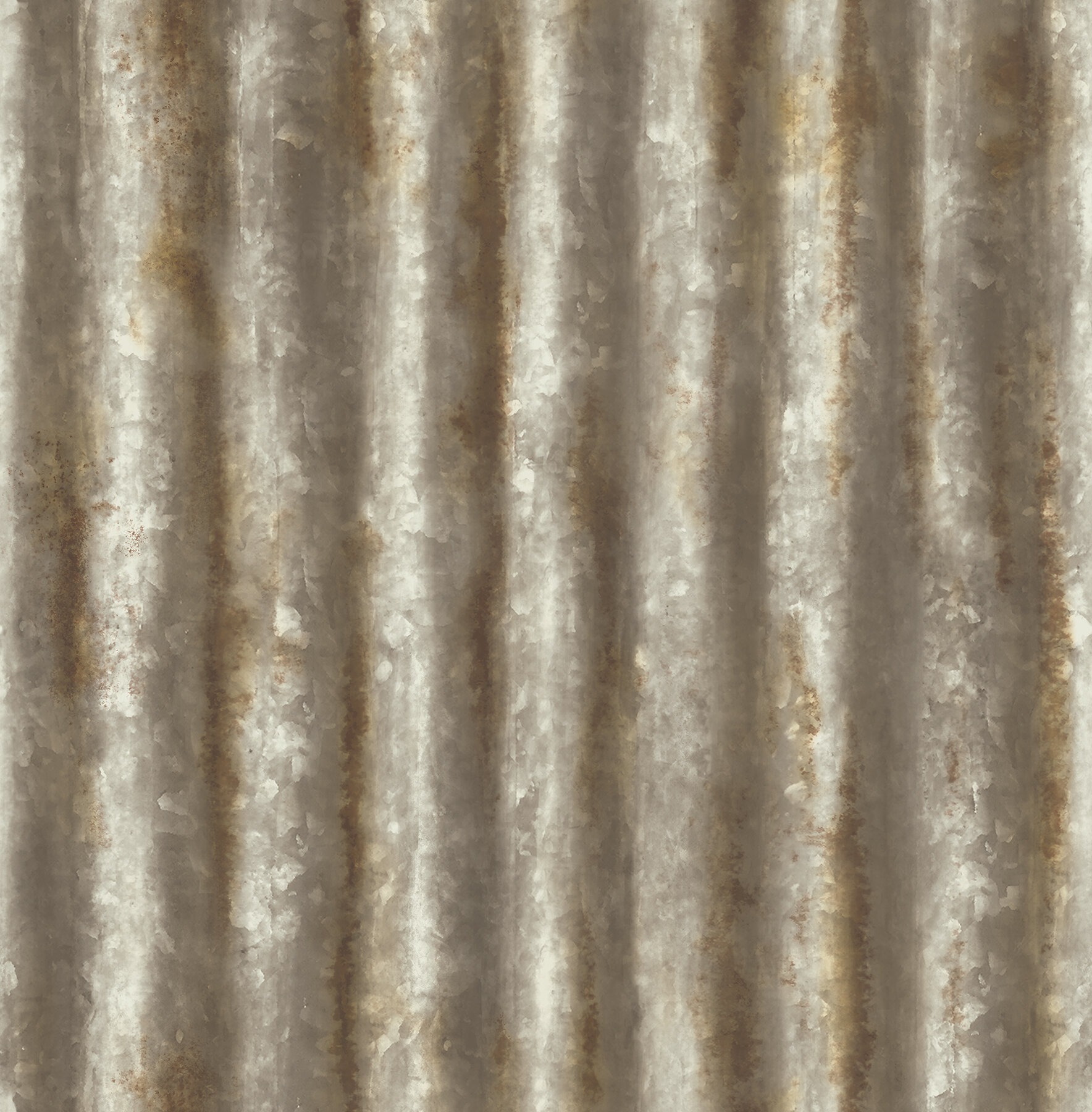 Brewster Home Fashions Corrugated Metal Industrial 33 x 205
