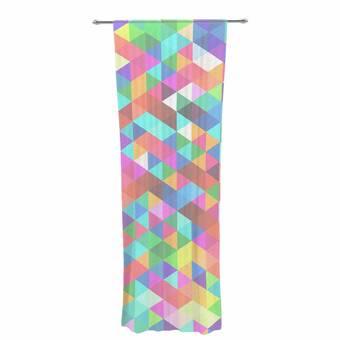 Kess InHouse Alison Coxon Confetti Triangles Dark Magenta Blue Decorative Set 30 x 84 Sheer Curtains