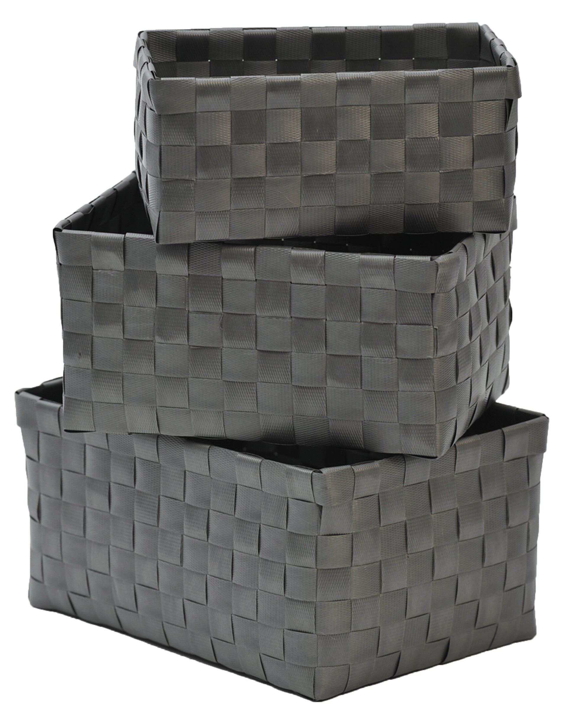 Evideco 3 Piece Checkered Woven Basket Set U0026 Reviews | Wayfair