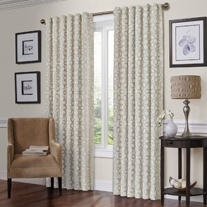 Jessie Geometric Semi-Sheer Rod Pocket Single Curtain Panel