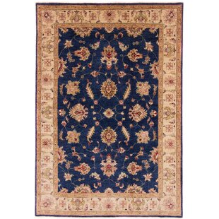 Chatsworth Hand Knotted Wool Blue/Beige Rug by Rosalind Wheeler