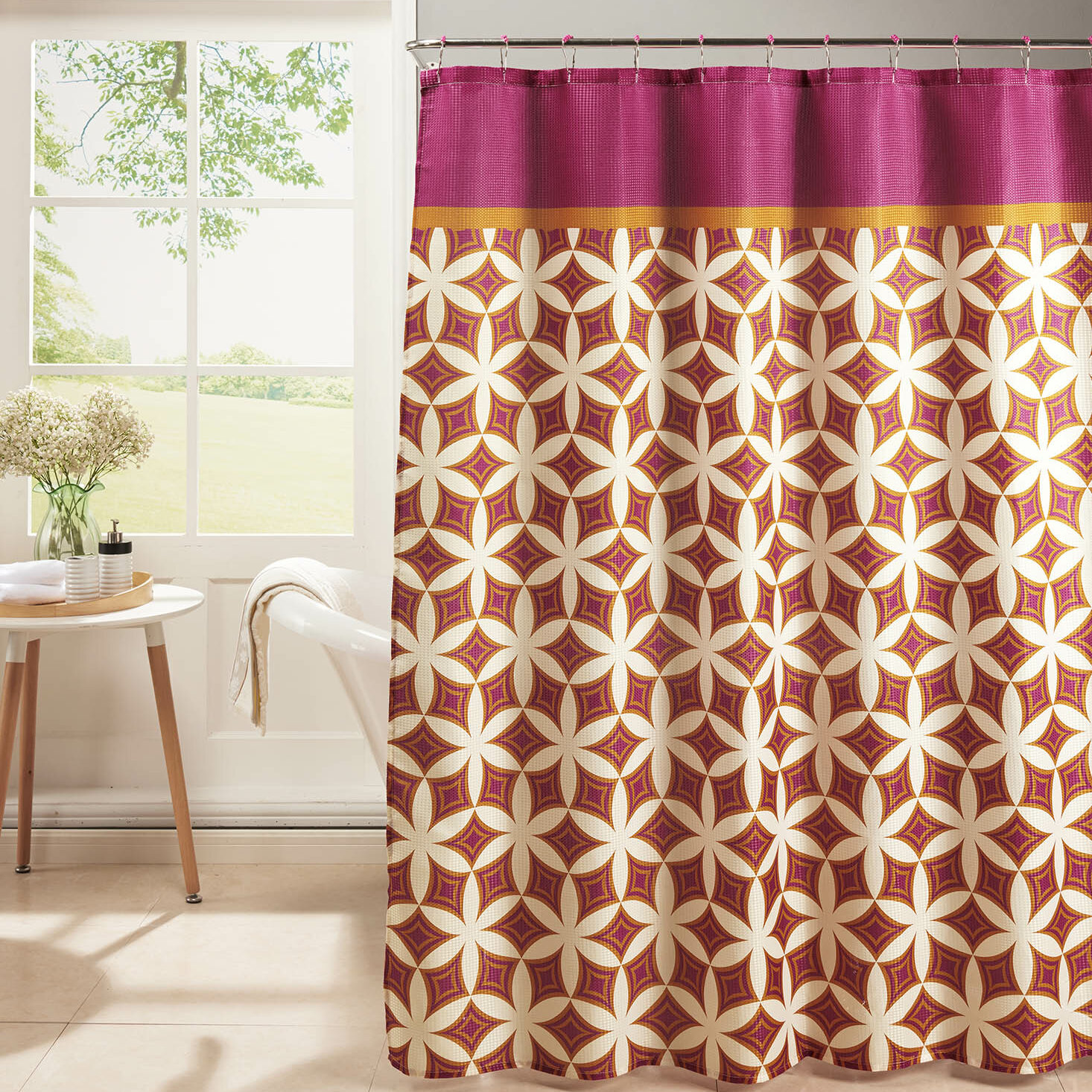 Bath Studio Diamond Weave Textured Shower Curtain Set