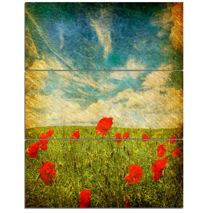 DesignArt \'Sky Background with Red Poppies\' 3 Piece Wall Art on ...