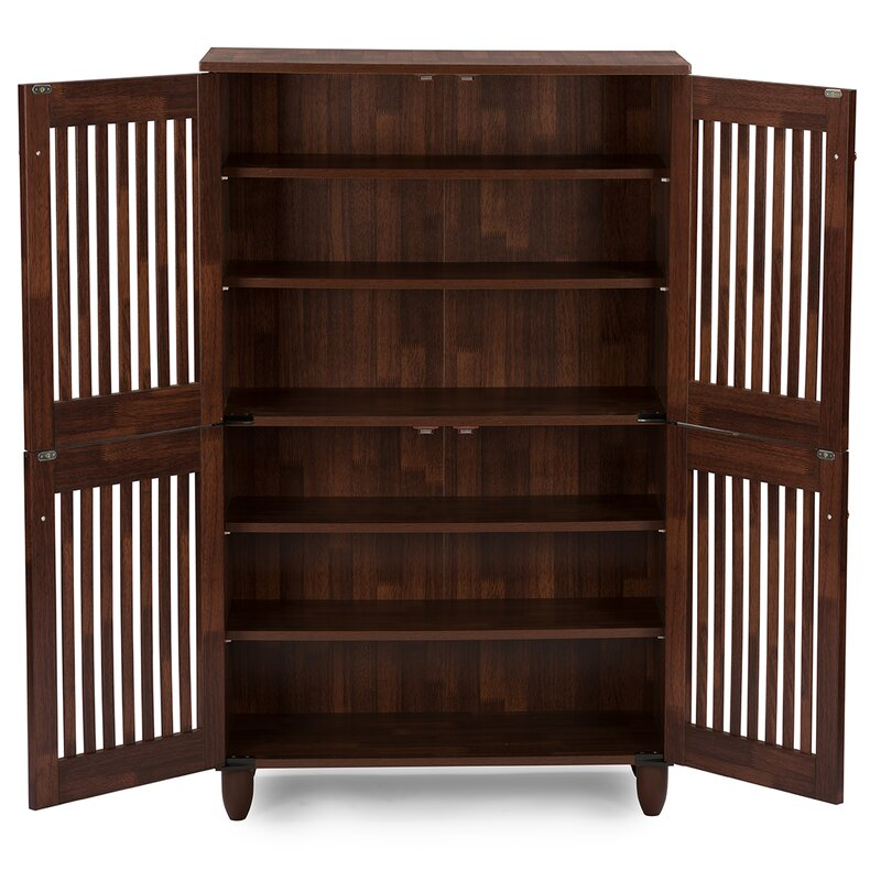 18 Pair Oak Shoe Storage Cabinet