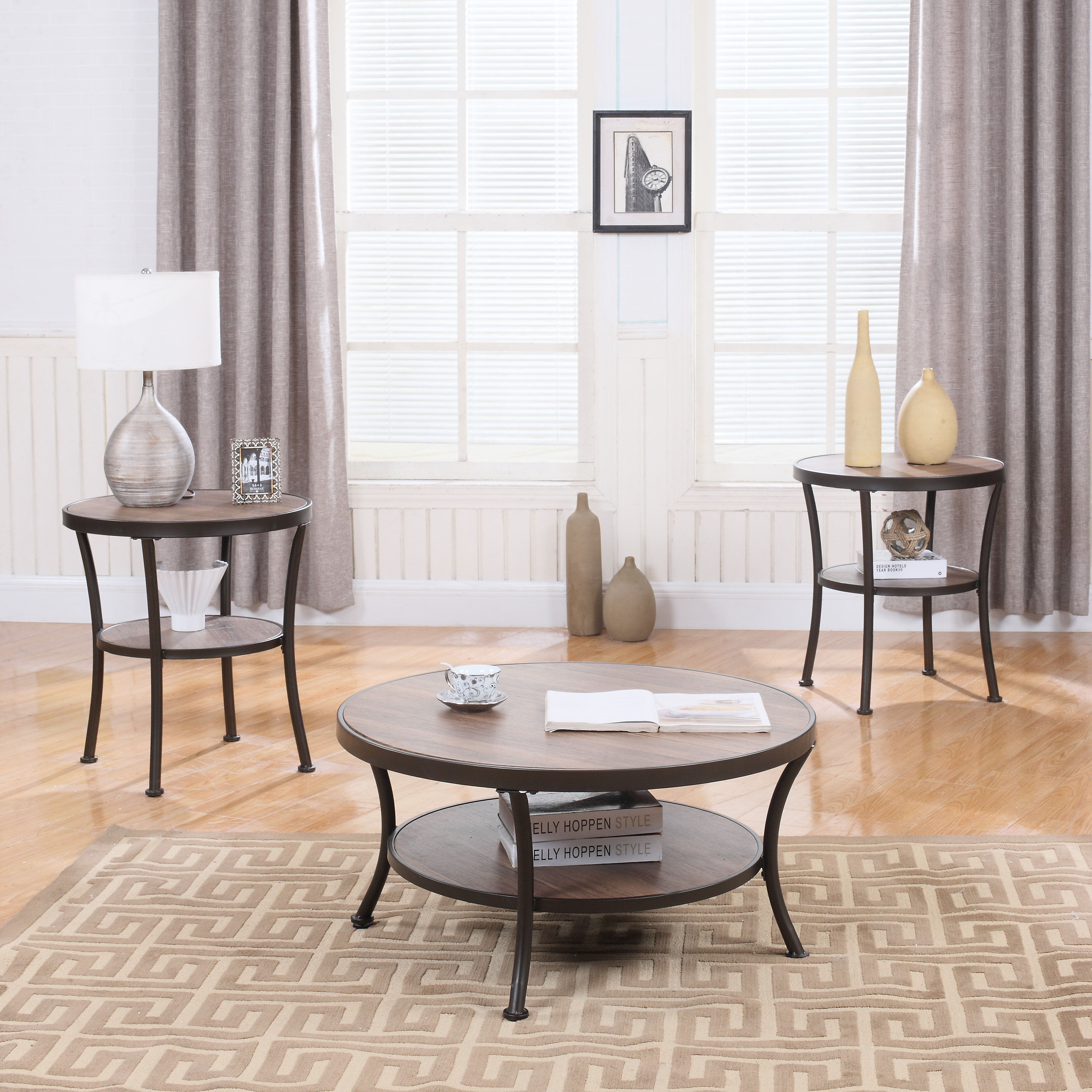 Madison Home USA 3 Piece Coffee Table and End Table Set u0026 Reviews | Wayfair & Madison Home USA 3 Piece Coffee Table and End Table Set u0026 Reviews ...