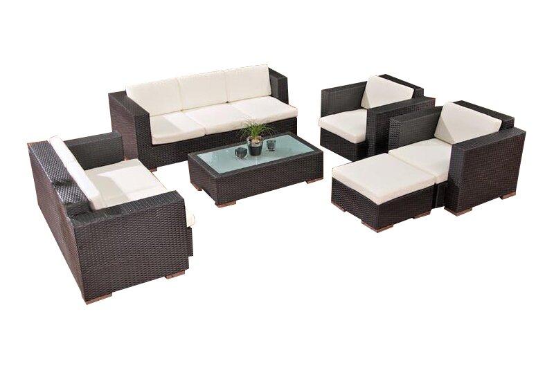 8 Sitzer Lounge Set Provence Aus Polyrattan Mit Polster