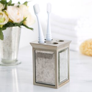 Distressed Glass Toothbrush Holder