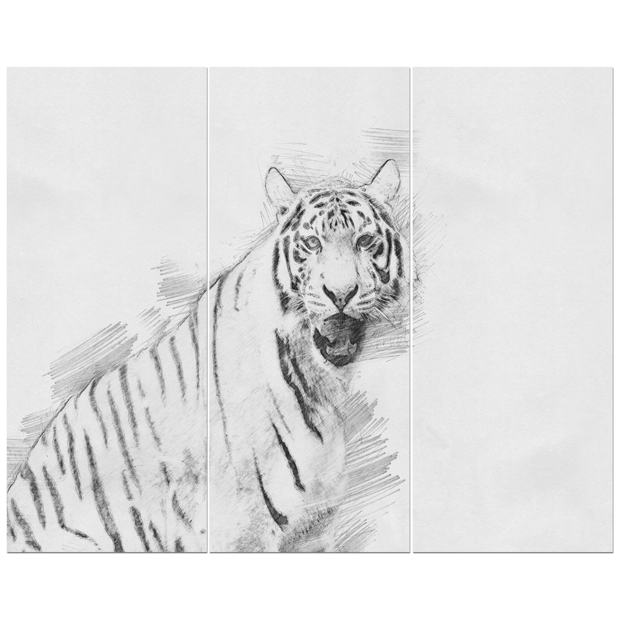 East urban home tiger in black and white pencil sketch drawing print multi piece image on wrapped canvas wayfair